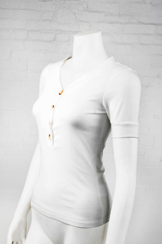 Ribbed V-Neck Top With Buttons - White