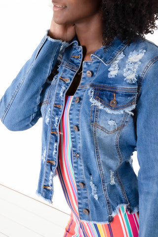 Distressed Denim Jacket - Medium