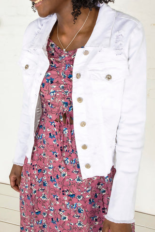 Distressed Denim Jacket - White