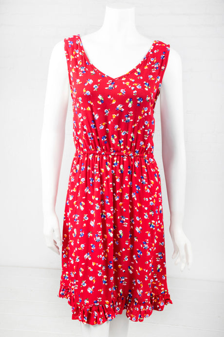Sleeveless Floral Dress - Red