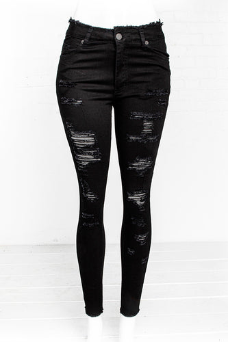 1-Button Hi-Rise Destructed Jeans - Jet Black