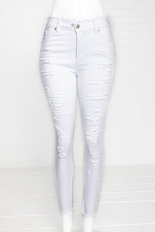 1-Button Hi-Rise Destructed Jeans - White