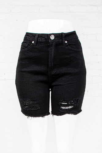 Cut-Off High Waist Denim Shorts - Black
