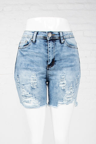 Cut-Off Denim Shorts - Ice Wash