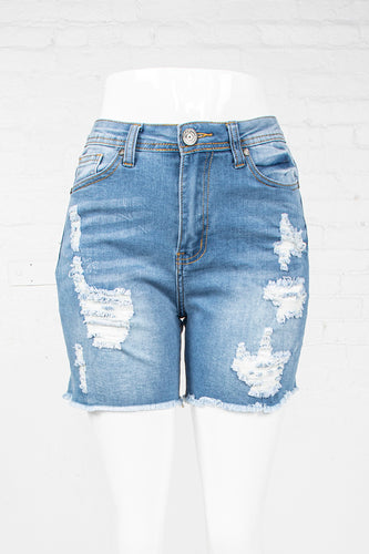 Cut-Off High Rise Denim Shorts - Light Blue
