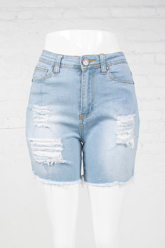 Cut-Off High Waist Denim Shorts - Light Indigo