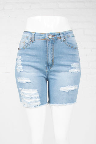 Cut-Off High Waist Denim Shorts - Light Wash
