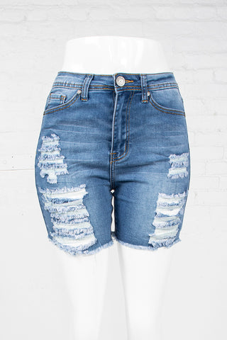 Cut-Off High Waist Denim Shorts - Medium Blue