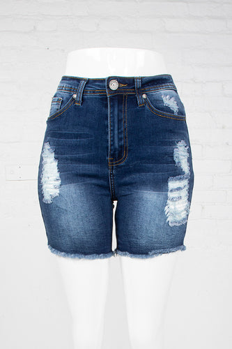 Cut-Off High Waist Denim Shorts - Medium Indigo