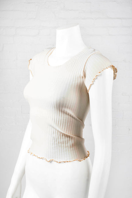 Lettuce Edge Crop Top - Cream