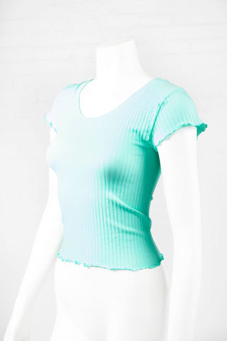 Lettuce Edge Ribbed Crop Top - Mint