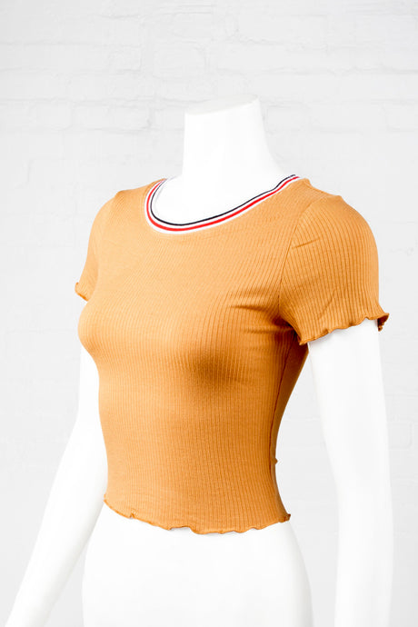 Lettuce-Edged Ribbed Top with Contrast Neck Rib - Mustard