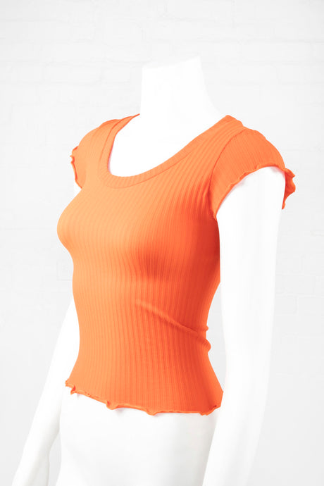 Lettuce Edge Ribbed Crop Top - Orange