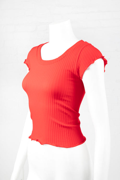 Lettuce Edge Ribbed Crop Top - Red