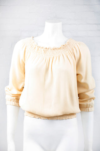 Boho Long Sleeve Flowing Top - Beige