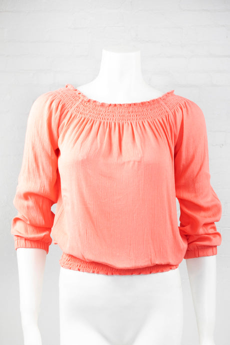 Boho Long Sleeve Flowing Top - Coral