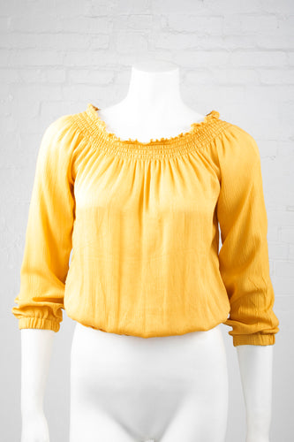 Boho Long Sleeve Flowing Top - Mustard