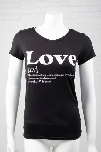 Short Sleeve Meaning of Love Top - Black