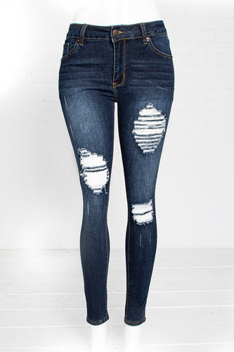 Classic Dark Blue Ripped Jeans - Dark Blue