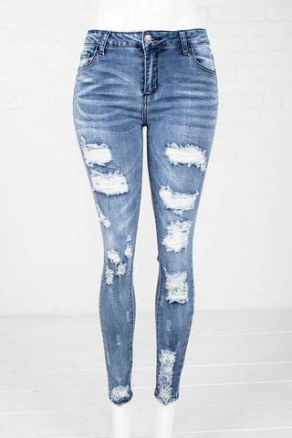 1-Button Rip & Tear Skinny Jeans - Medium Blue