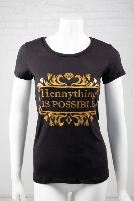 Short Sleeve Hennything Is Possible Top - Black