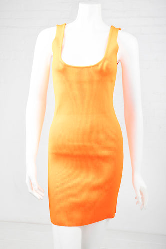 Ribbed Bodycon Dress - Neon Orange