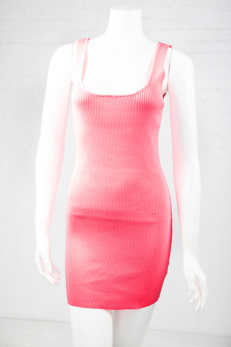 Ribbed Bodycon Dress - Neon Pink