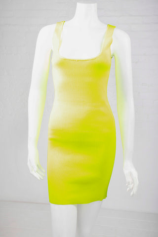 Ribbed Bodycon Dress - Neon Yellow