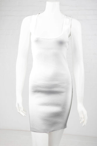 Ribbed Bodycon Dress - White