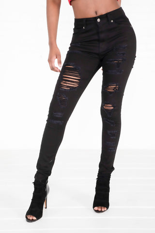 Heavily Destructed Jeans - Black