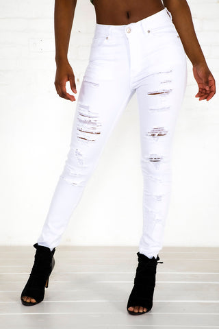 Heavily Destructed Jeans - White