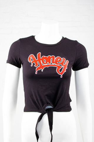 Short Sleeve Honey Tie-Front Top - Black