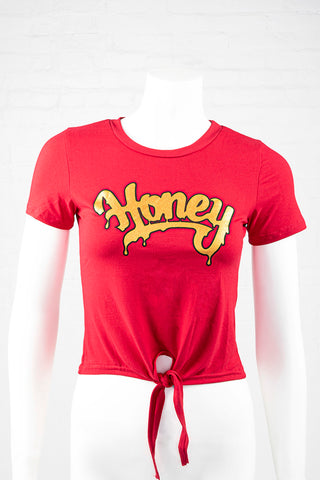 Short Sleeve Honey Tie Front Top - Red