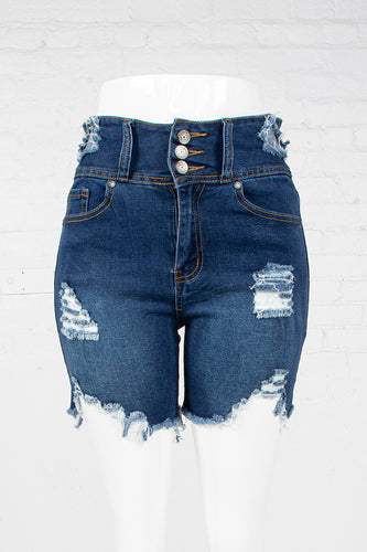 3-Button High Waist Denim Shorts - Medium Indigo