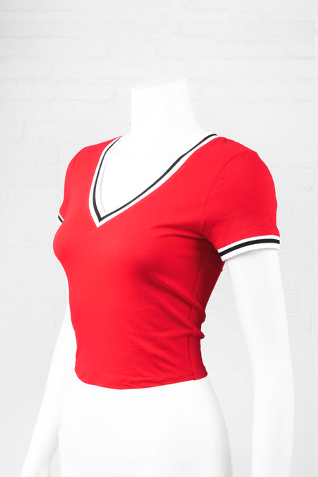 V-Neck Top with Contrast Rib - Red