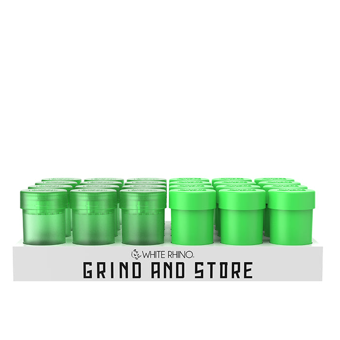 Storage container with built in grinder