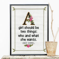 Coco Chanel Quote Cross Stitch Product-What She Said Stitches