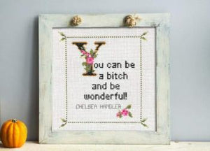Chelsea Handler Quote Finished Cross Stitch Pattern-What She Said Stitches