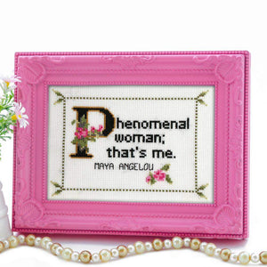 Maya Angelou Quote Easy Cross Stitch Pattern: Phenomenal Woman; That's Me. (Instant PDF Download)-What She Said Stitches