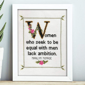 Marilyn Monroe Quote Easy Cross Stitch Pattern: Women Who Seek To Be Equal To Men Lack Ambition. (Instant PDF Download)-What She Said Stitches