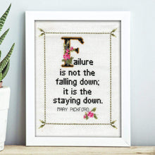 Mary Pickford Quote Easy Cross Stitch Pattern: Failure is not the falling down; it is the staying down. (Instant PDF Download)-What She Said Stitches