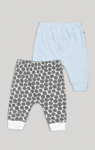 Baby Clothes | Boys 2 Harem Pants Heather Blue & Spot Pattern