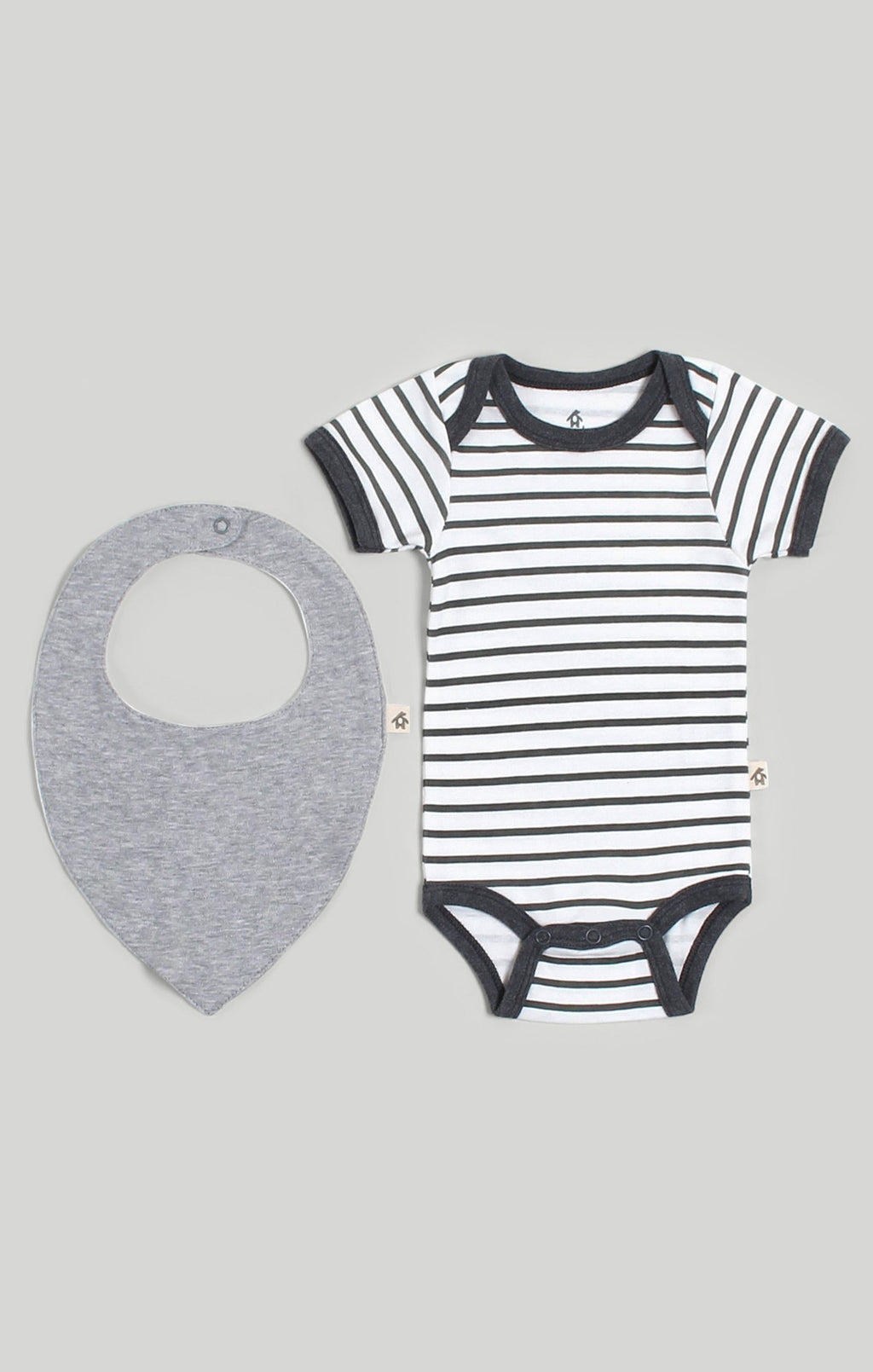 Stripe Bodysuit & Bib 2 Piece Set
