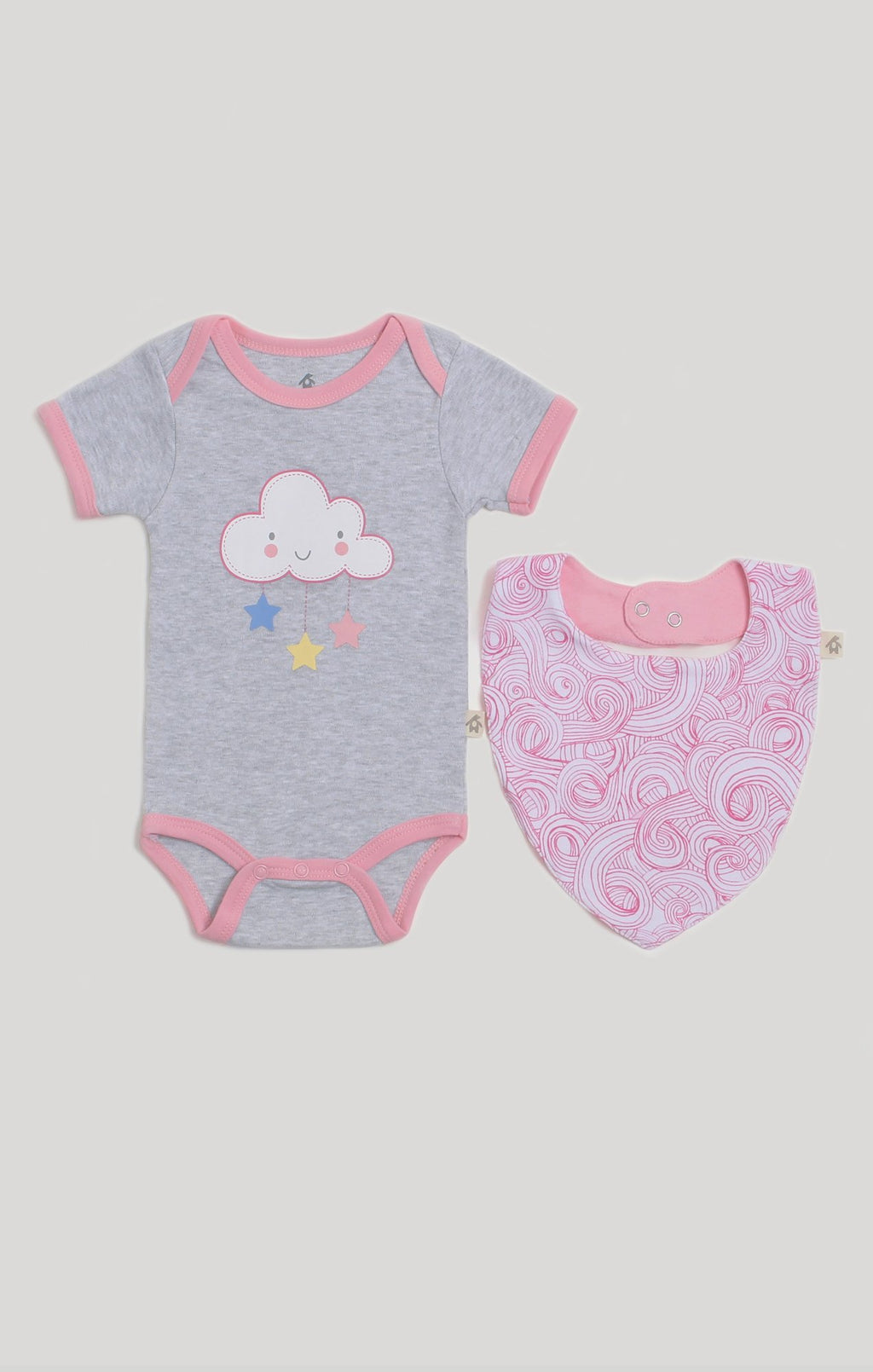 Baby Clothes | Pink Cloud Bib & Baby Bodysuit Set