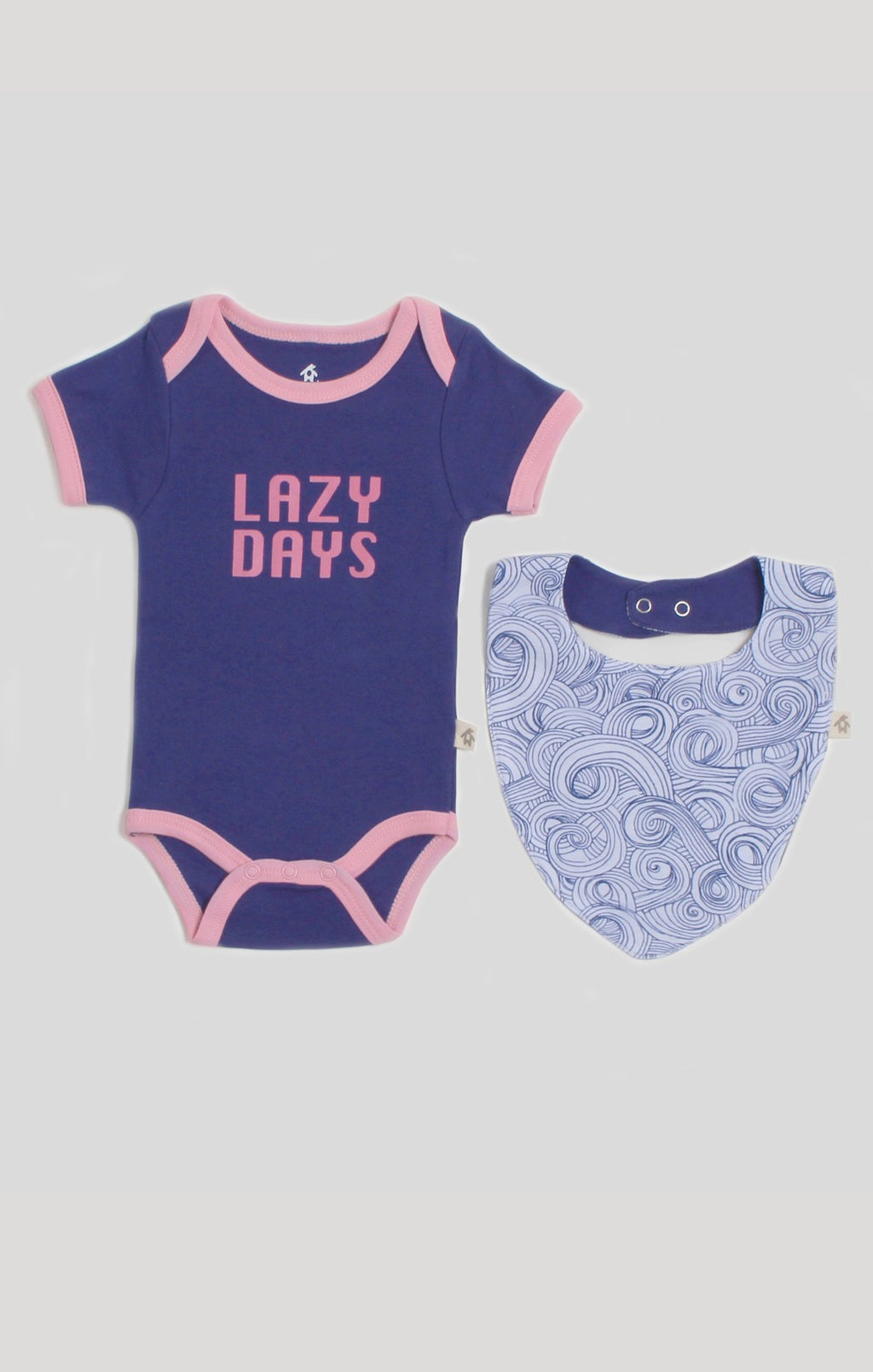 Baby Clothes | Blue Swirl Bodysuit and Bib Set