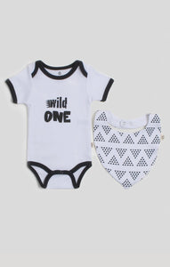 Baby Clothes - Wild One Bib & Baby Bodysuit Set