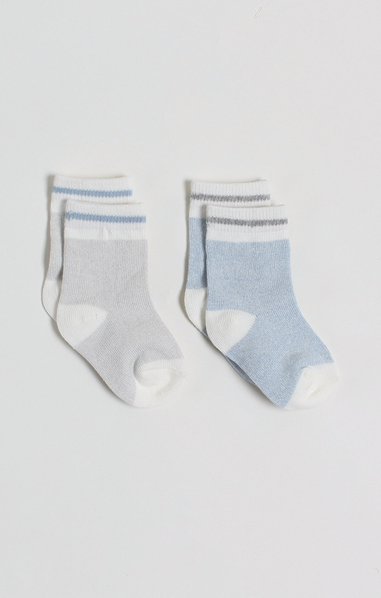 Socks - 2 Pk of Grey & Blue Baby Boy Boot Socks | Baby Accessories