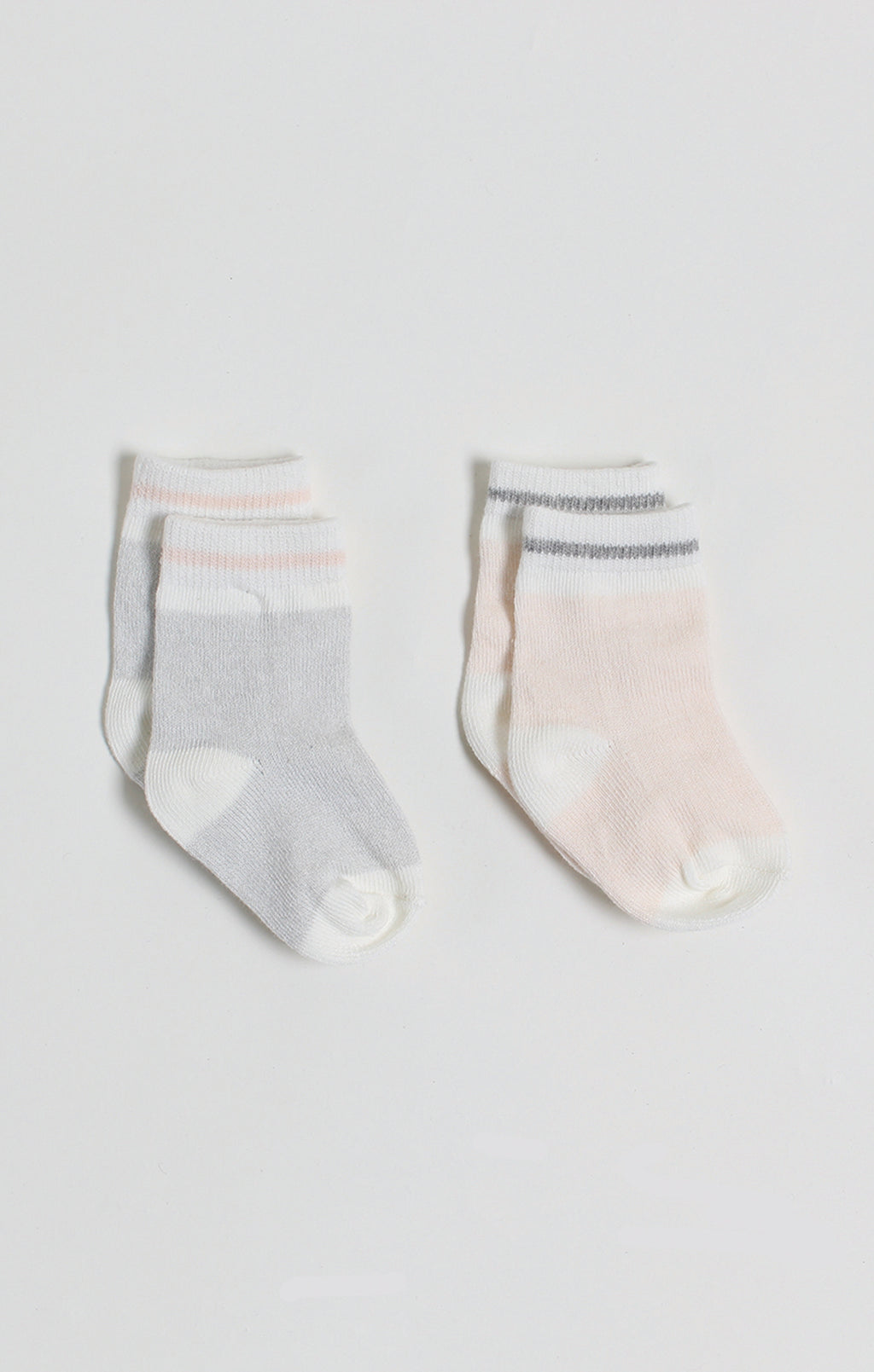 Socks - 2 Pk of Gray & Pink Baby Boy Boot Socks | Baby Accessories