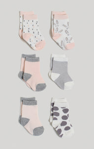 Socks - 6 Pk Baby Girl Crew Socks | Baby Accessories