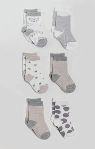 Socks - 6 Pk Neutral Baby Crew Socks | Baby Accessories